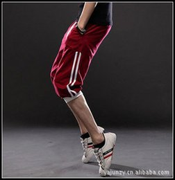 Wholesale Capri Pants Men Fashion - Wholesale-NEW 2016 fashion mens casual pants capri sports men's trousers basketball 3 4pants elastic waist hip hop leg cotton pants 3XL