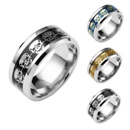 Wholesale Titanium Skull Rings For Men - Fashion Rings For Men Hallowmas Gift Jewelry Never Fade Stainless Steel Skull Ring Gold Filled Blue Black Skeleton Pattern Man Biker