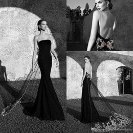 Wholesale Evening Dress Tarik Ediz - Tarik Ediz New 2016 Vintage Dresses Evening Party Wear Cheap Mermaid Strapless Backless Watteau Lace Black Bows Celebrity Occasion Dresses