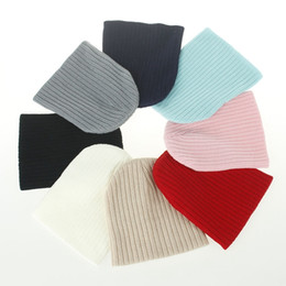 Wholesale Knit Hats For Kids - Baby solid color wool Knitted caps Newborn autumn winter warm Cute Hats Kids Boys Girls 8 colors for choose top quality