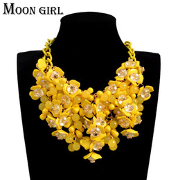 Wholesale cubic zirconia tennis necklaces - Bohemia Maxi flower choker necklace classic New sping fashion boho jewelry display Big statement necklace for women accessories