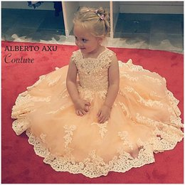Wholesale Baby Yellow Formal Dresses - Lovely 2017 Flower Girl Dresses Princess White Ivory Jewel Neck Appliques Lace Kids Formal Tulle Baby Girl Pageant Dresses For Weddings