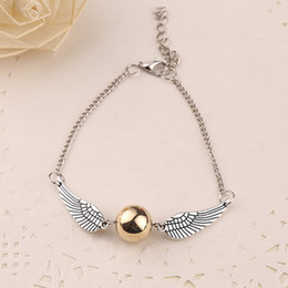 Wholesale Snitch Charms - Wholesale-quidditch golden snitch pocket bracelet wings vintage retro tone for men and women wholesale