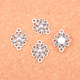 Wholesale Handmade Bracelets Connectors - 92pcs Antique Silver Plated flower link connector Charms Pendants for European Bracelet Jewelry Making DIY Handmade 20*10mm
