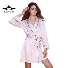 Wholesale Womens Long Robes - Wholesale- Leiouna 2017 Fashion Womens New Pink Silk Sexy Bath Robes For Waistband Bathrobes High Quality Length Sleepwear Long Robe