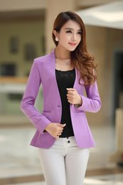 Wholesale Korean Office Wear - Free Shipping 2016 Spring Autumn Women Korean long-sleeved shrug suit JacketsSlim candy color Blazers office wear S M L XL XXL