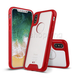 Wholesale Transparent Cell Phone Cases - Clear TPU PC Cell phone Case Shockproof Armor Cover For iPhone X 7 6S 6 Plus Samsung S8 S9 Plus