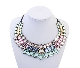 Wholesale White False Collar - New Big Fashion Ribbon Rhinestone Pendant Necklace Women Crystal Choker Statement Necklace False Collar Bijoux Collier