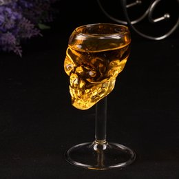 Wholesale Drink Decorations - 75ml Skull glass glass stein beer glass Head Whiskey Shot Drinking Popular Design New Fashion Party Supplies