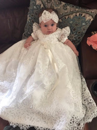 Wholesale Vintage Girls Shoes - Vintage Toddler Girls Christening Dress with Headband White Lace Pearls Baby Girl Birthday Baptism Dresses Custom with Shoes