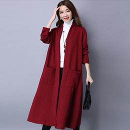 Wholesale Preppy Cardigan - 2016 Autumn Winter Fashion Long Sleeve Sweater Women New Long Knitted Female Long Cardigan Women's Trench Winter Warm Outwears