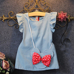Wholesale New Denim Dress Girl - 2016 New Toddlers Kids Baby Girl Dress bow Bag Ruffles Demin Casual Dresses 1-5Y