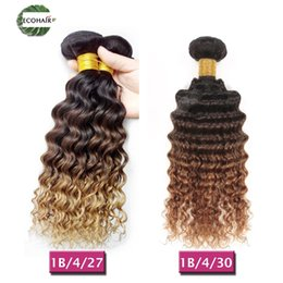 Wholesale Deep Curl Peruvian Hair - Ombre Brazilian Peruvian Malaysian Indian Deep Wave Weave 3 Tone Ombre Deep Curly Human Hair Bundles Deep Curls #1B 4 27&#1B 4 30