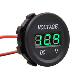 Wholesale voltmeter green - Professional Waterproof Gauge LED Digital Display Voltmeter 12V-24V Green LED Light For Universal Car Motorcycle Measure Voltage
