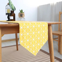 Wholesale Modern Table Runners - 30*180Cm Western Modern Simplicity Table Runners Cotton Linen Yellow Runner Geometry Pattern Design Tablecloth Bed Runner Multi Sizes