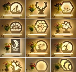 Wholesale Vase Modern Glass - Modern simple led and fresh flower vase wall lamp decoration corridor romantic bedroom bedside lamp balcony corridor wall lamps and lanterns