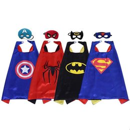 Wholesale Batman Robin Cartoons - 2017 70*70 Superhero Capes and Masks Kids Batman Spiderman Robin for kids Capes with Mask for Cosplay