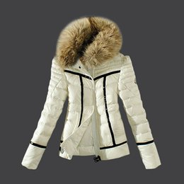Wholesale Short Feathered Jacket - Hot Sale Winter women Mon*ler Down Jackets High Quality Women Warm Slim Large Fur Collar white duck down jacket Parkas Long Down Coats