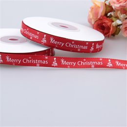 Wholesale Wholesale Easter Grosgrain Ribbon - New Red Double side Christmas Ribbon Printed Grosgrain Ribbon For Home Decoration 1CM Wide 25yard  roll packing bags HA202