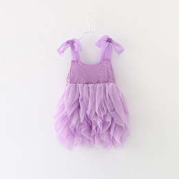 Wholesale Little Princess Dresses Free Shipping - EMS DHL Free shipping little girls Kids Pink PurpleParty Princess Tulle Sequin Dress Occasion Dress Holiday wear Party Dress