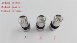 Wholesale Dct Coil Atomizer - Dual wax coils for cannon vaporizer atomizer vape double coil dual DCT Cax oil Ceramic rod wax Glass metal dual quartz coils cartomizer