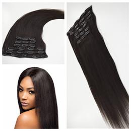 Wholesale brazilian yaki hair 1b - 7pcs Brazilian yaki straight Clip In Hair Extensions Human Hair Natural color 1b# Clip In Human Hair Extensions 120g G-EASY