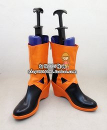 Wholesale Inori Yuzuriha Cosplay - Wholesale-Guilty Crown Inori Yuzuriha Orange & Black Cosplay Boots shoes new version #JZ0129 hand made Custom made