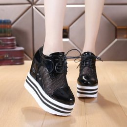 ca5c280b501 The 2016 summer shoes increased Korean patent leather strap platform high  heeled sneakers breathable casual shoes. on sale