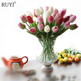 Wholesale Artificial Mini Silk Flowers - 12Pcs Real Touch Pu Mini Tulip Flower Wedding Flowers Bouquet Artificial Silk Flower For Home Party Decoration Gift