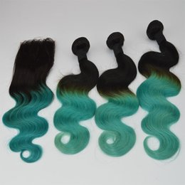 Wholesale Two Toned Indian Remy Hair - Ombre Brazilian Body Wave Hair Weaves With Top Closure T1b Teal Green Two Tone Virgin Remy Human Hair Bundles Lace Closure 4pcs Lot