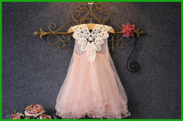 Wholesale Dress Children Leopard - 2016 new lovely baby children girls vestidos pink sleeveless pearls tulle fancygown sundress princess party dresses free shipping
