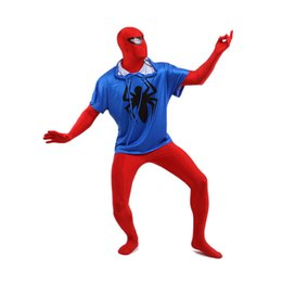 Wholesale Classic Spiderman Spandex Costume - Two Pieces Red And White Spiderman Sexy Costume Lycra Spandex Super Hero Zentai Suit For 2017 Halloween Events