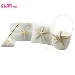 Wholesale Guest Basket - 4Pc set Ivory Wedding Ring Pillow + Flower Basket + Starfish & Seashell Wedding Guest Book + Pen Set Wedding Acceossories <$16 no tracking