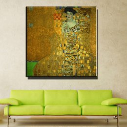 Wholesale modern oil portraits - ZZ741 modern canvas art gustav klimt portrait of mrs adele bloch-bauer oil painting canvas prints art wall decor art unframed