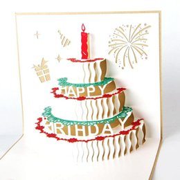 Wholesale Vintage Birthday Greeting Cards - wholesale Birthday Cake Greeting Card 3D Handmade Xmas Gift Stationery Card Vintage Retro Pierced Post Greeting Cards
