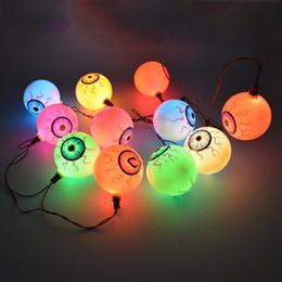 Wholesale Eyeball Halloween - Halloween 50pcs lot Fancy Eye Balls String Lattern Lights LED Eyeball Colorful Strand Lamp Halloween Masquerade Supplies HN303 for Halloween