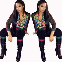 Wholesale Martial Arts Outfit - Two Piece Set Women's Tracksuits Autumn 2018 Crop Top And Pants Zipper Casual Sweatsuit Long Sleeve Printing Sport Outfits Set