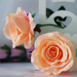 Wholesale Blossom Roses - Big Blooming Artificial Rose Blossom 9cm Silk Flower Heads for Decoration Mariage Fake Rose Flower 1200pcs OOA2440