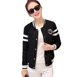 Wholesale korea fashion jacket winter - Wholesale- Autumn Fashion Female Baseball Jackets Stand Neck Slim Tops Women Winter bomber jacket Ladies Korea Style Black White Outerwear