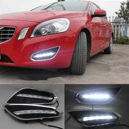 Wholesale Volvo Drl - 1 Set LED Daytime Running Light With Auto Light-Off Function Waterproof ABS Cover LED DRL Lamp For Volvo S60 V60 2011 2012 2013
