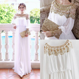 Wholesale Islamic Formal Long Dress - 2016 Abaya turkish women clothing Muslim dress heavy beaded formal chiffon Islamic muslim long sleeve dresses turkey clothing vestidos longo