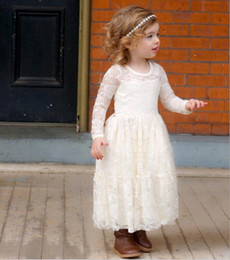 Wholesale Dresses Girl Age 12 - Lace Girls Party Dresses Hot Sale Long Sleeve Transparent Neck Flower Design Princess Dress fit Age 4-12 Years old