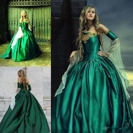Wholesale Victorian Green Corset - Gothic Wedding Dresses Halloween Victorian Bridal Gowns Long Sleeves Floor Length Corset Back Plus Size Satin Hunt Green Embroidery