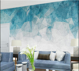 2021 papel tapiz azul tv pared 3d Abstract Geometry Photo Wall Paper Mural para Living Room TV Background Wall Decor Wallpaper para Paredes 3d Blue Murals Custom rebajas papel tapiz azul tv pared