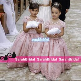 Wholesale Cheap Big Girl Wedding Dresses - Custom Made Blush Lace Wedding Flower Girl Dresses With Short Sleeves Backless Big Bow 2016 Cheap Summer Little Girls Princess Ball Gowns