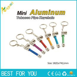 Wholesale Tobacco Keychain Pipe Wholesale - High quality Creative Smoking Accessories Mini metal Smoking Pipe mini Aluminum tobacco keychain pipe new hot