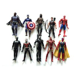 Wholesale 10pcs set inches Captain America action figures toys Ant Man Iron Man Spider Man model Movable Decoration cm DHL shipping C869