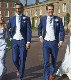 Wholesale Plus Size Tweed Coat - (Jacket+Vest+Pants) Wedding Groom Royal Blue Mens Suit Latest Coat Pant Designs Wedding Suits For Men Costume Homme