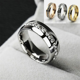Wholesale Womens White Gold Diamond Rings - Stainless Steel Gold Silver Rings for Women Men Fashion Crystal Wedding Ring Womens Mens Diamond engagement ring Luxury Jewelry men's Gifts