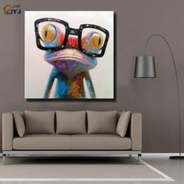 Wholesale Dr Painting - Stretched with Frame Dr Frog Painting from Artist ART Hand painted Modern Abstract Oil Painting On Canvas Wall Art